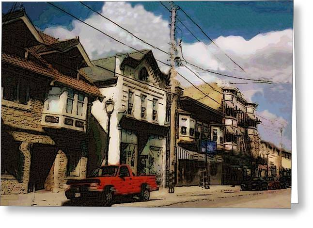 Red Truck Greeting Cards - Brady Street Scene Greeting Card by Anita Burgermeister