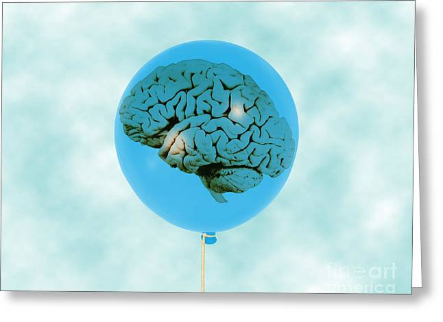 Psychological Space Greeting Cards - Brain In Balloon, Conceptual Greeting Card by Mary Martin