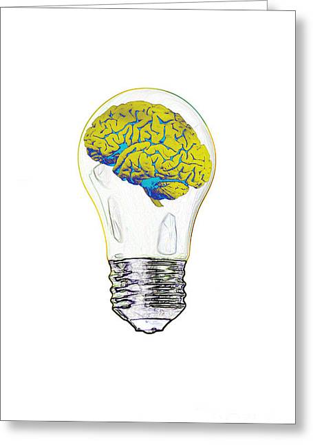 Conscious Greeting Cards - Brain In Lightbulb, Illustration Greeting Card by Mary Martin