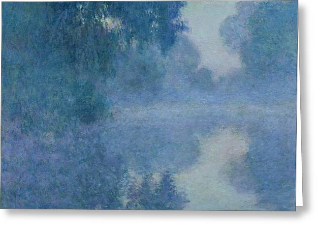 Foggy. Mist Greeting Cards - Branch of the Seine near Giverny Greeting Card by Claude Monet