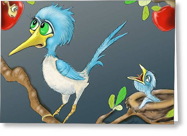 All Birds Greeting Cards - Breakfast Greeting Card by Hank Nunes
