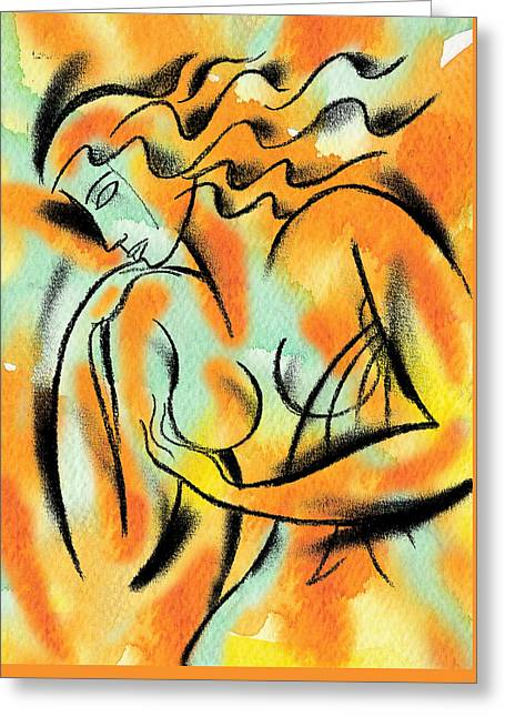 Cancer Paintings Greeting Cards - Breast Exam Greeting Card by Leon Zernitsky