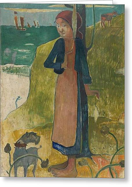 Gauguin Style Greeting Cards - Breton girl spinning Greeting Card by Paul Gauguin