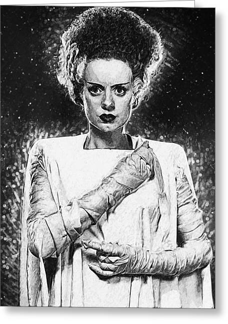 Dracula Digital Greeting Cards - Bride of Frankenstein Greeting Card by Taylan Soyturk