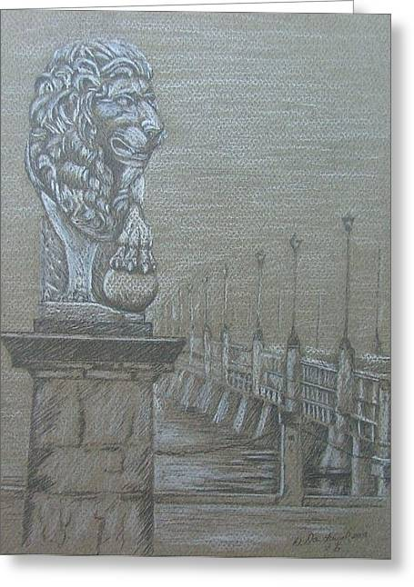 Florida Bridge Drawings Greeting Cards - Bridge of Lions Greeting Card by Dan Hausel