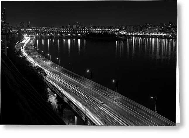 Seoul Greeting Cards - Bright Lights of Olympic Boulevard - Seoul Greeting Card by Orsttrs