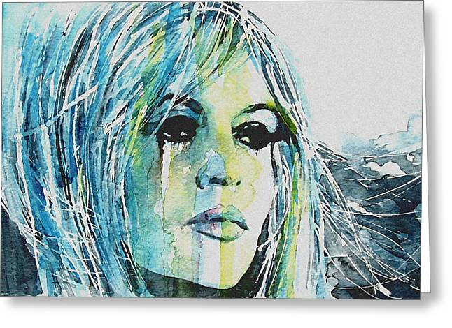 Rights Paintings Greeting Cards - Brigitte Bardot Greeting Card by Paul Lovering