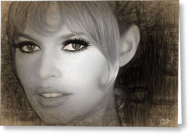 Brigitte Bardot Sketch Greeting Card by Quim Abella