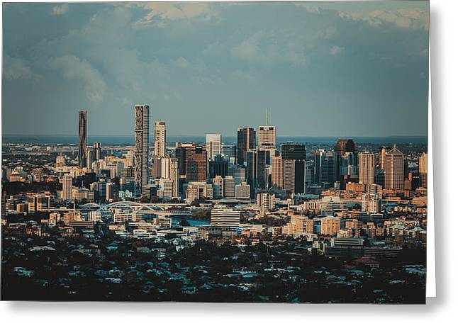 River View Mixed Media Greeting Cards - Brisbane Cityscape from Mount Cootha #5 Greeting Card by Stanislav Kaplunov