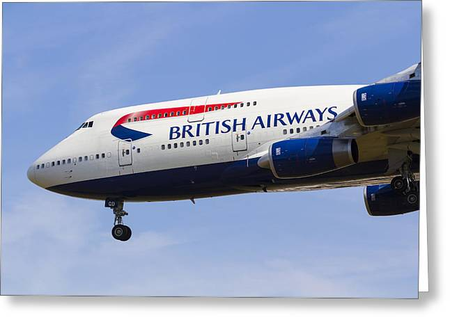 Boeing 747 Photographs Greeting Cards - British Airways Boeing 747 Greeting Card by David Pyatt