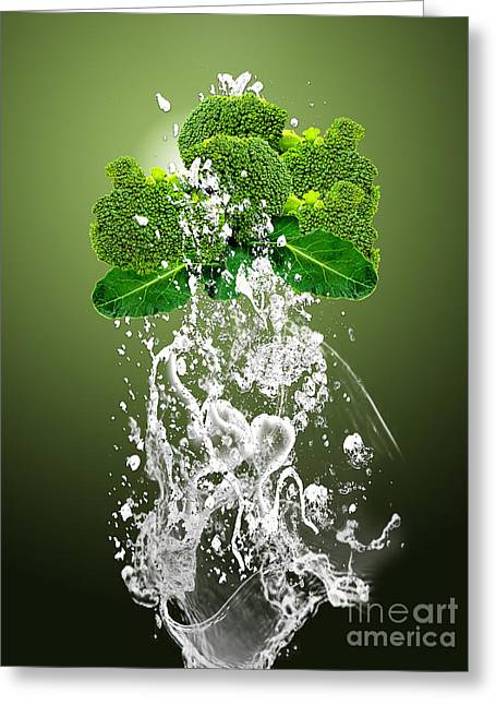 Broccoli Splash Greeting Card by Marvin Blaine