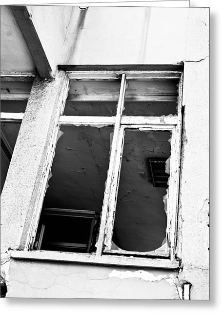 Grate Greeting Cards - Broken window Greeting Card by Tom Gowanlock