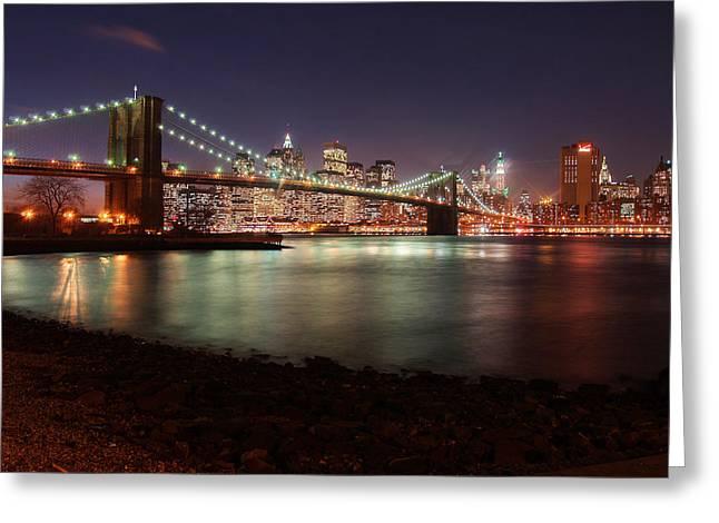 Nightshot Greeting Cards - Brooklyn Bridge Nights Greeting Card by Nina Papiorek