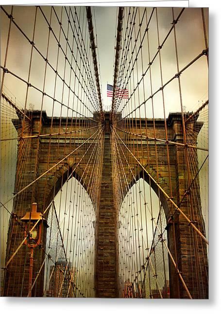 Famous Bridge Greeting Cards - Brooklyn Bridge Twilight Greeting Card by Jessica Jenney