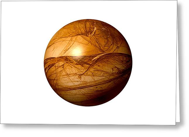 Fractal Orbs Greeting Cards - Brown Abstract Globe Greeting Card by Henrik Lehnerer