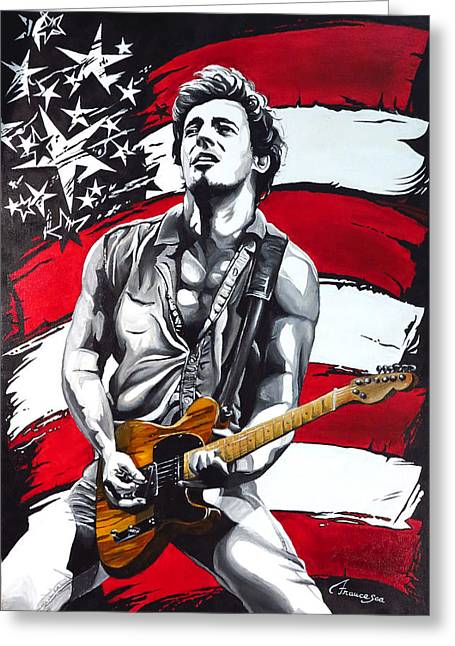Flag Of Usa Greeting Cards - Bruce Springsteen Greeting Card by Francesca Agostini