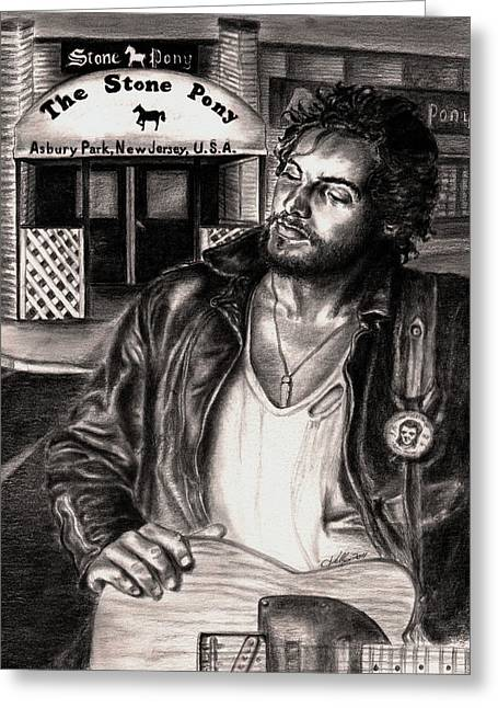 Bruce Springsteen Greeting Card by Kathleen Kelly Thompson