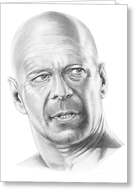 Bruce Willis Greeting Card by Murphy Elliott