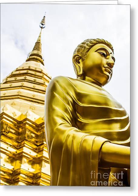 Buddha Image Greeting Card by Honey Bee