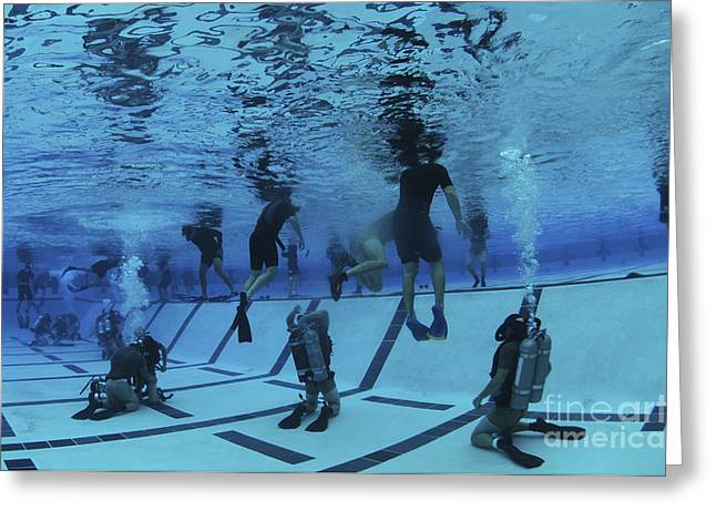 Special Operations Forces Greeting Cards - Buds Students Participate In Underwater Greeting Card by Stocktrek Images