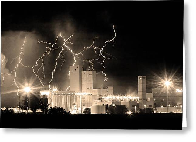 The Lightning Man Greeting Cards - Budweiser Lightning Thunderstorm Moving Out BW Sepia Panorama Greeting Card by James BO  Insogna