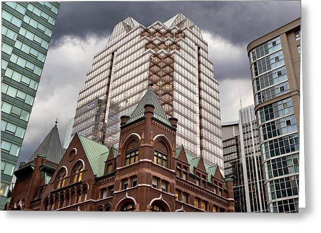 Modern Photographs Greeting Cards - Buildings Old and New Toronto Greeting Card by Mark Duffy