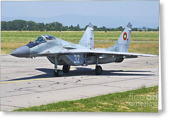 Jet Star Greeting Cards - Bulgarian Air Force Mig-29 Fulcrum Greeting Card by Daniele Faccioli