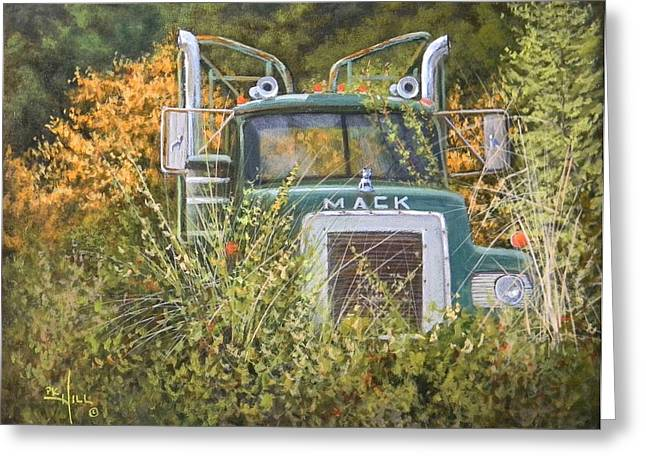 Logging Truck Paintings Greeting Cards - Bulldog in the Bushes Greeting Card by Paul K Hill