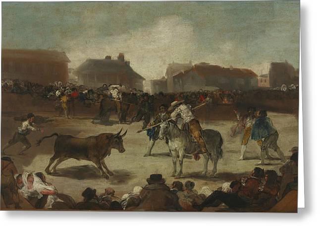 Bullfight In A Village Greeting Card by Francisco Goya