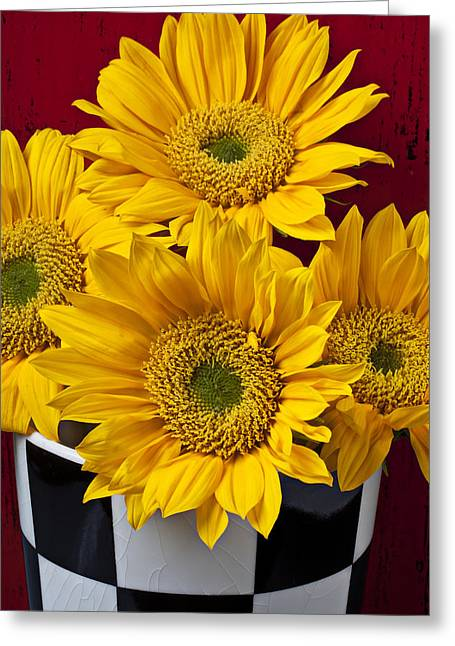 Yellow Sunflower Greeting Cards - Bunch of Sunflowers Greeting Card by Garry Gay