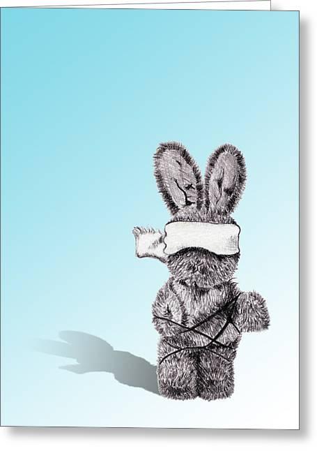 Bondage Drawings Greeting Cards - Bunny Bondage Greeting Card by Christina Knapp