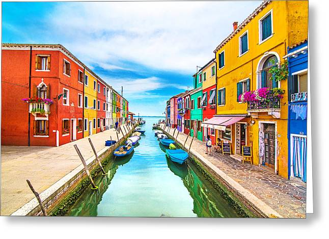Italian Islands Greeting Cards - Burano Greeting Card by Ivan Vukelic