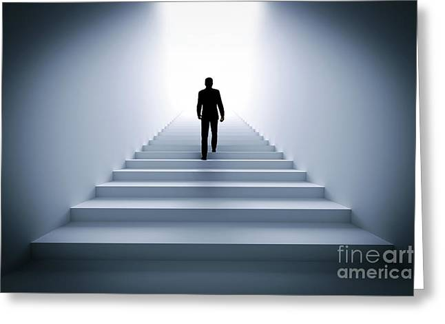 Businessman Climbing The Stairs Towards Light. Greeting Card by Michal Bednarek