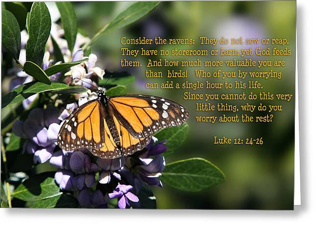 Butterfly with Scripture Greeting Card by Linda Phelps