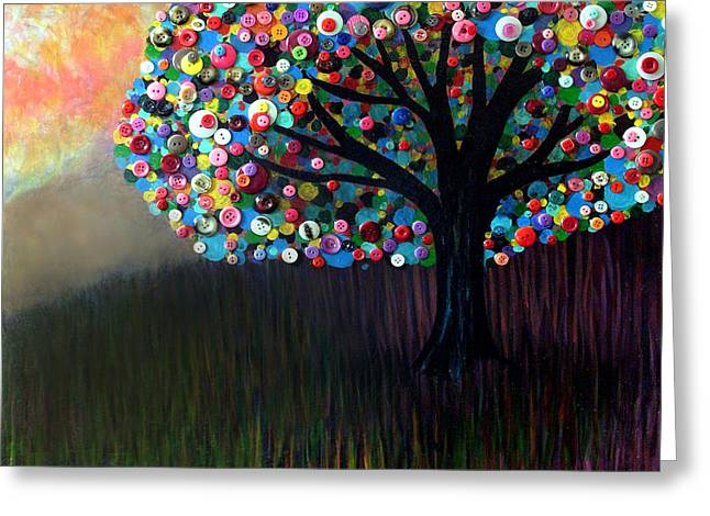 Button Tree 0004 Greeting Card by Monica Furlow