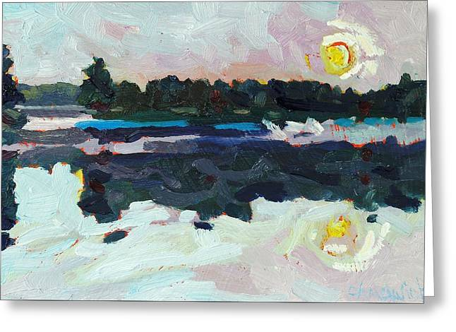 Canoe Greeting Cards - A New Dawn on Buzzard Lake Greeting Card by Phil Chadwick