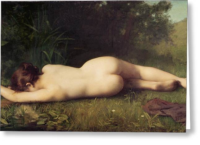 Mythical Landscape Greeting Cards - Byblis Turning into a Spring Greeting Card by Jean-Jacques Henner