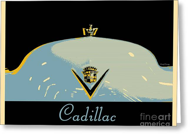 Quality Greeting Cards - Cadillac Greeting Card by Cheryl Young