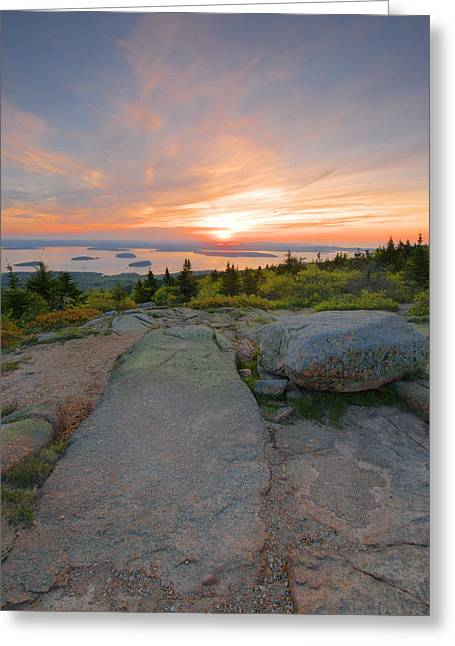 Maine Landscape Greeting Cards - Cadillac Mountain Sunrise Greeting Card by Stephen  Vecchiotti