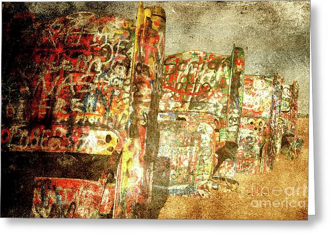 Cadillac Ranch On Route 66 Greeting Card by Susanne Van Hulst