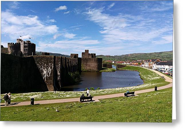 Ground Mixed Media Greeting Cards - Caerphilly Castle Greeting Card by Andrew Read