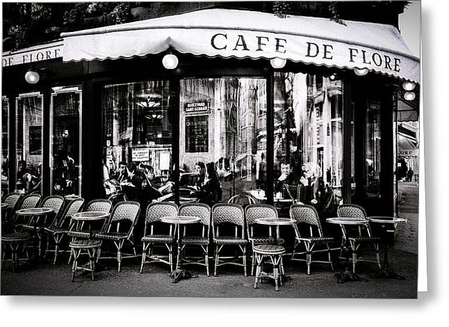 People Pyrography Greeting Cards - Cafe De Flore. Greeting Card by Cyril Jayant
