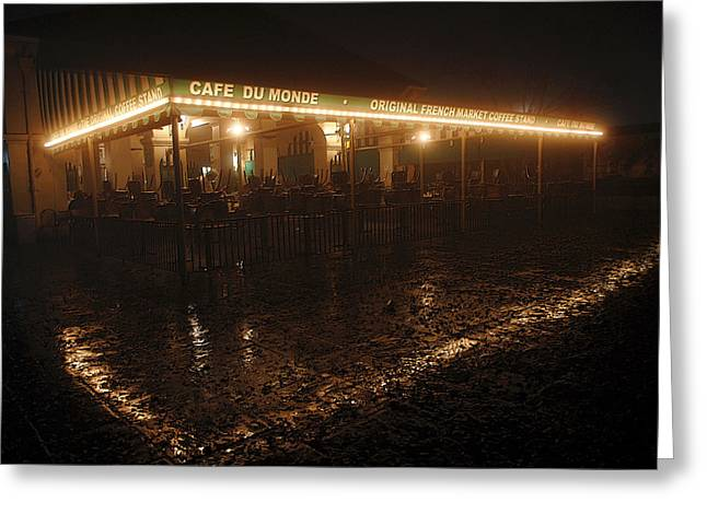 Night Cafe Greeting Cards - Cafe Du Mond Greeting Card by Alicia Morales