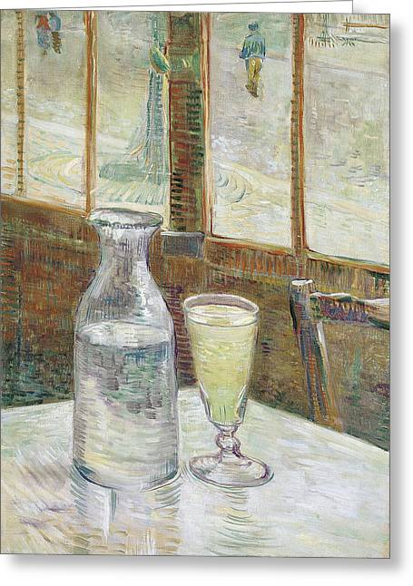 Van Gogh Cards Greeting Cards - Cafe Table with Absinthe Greeting Card by Vincent van Gogh