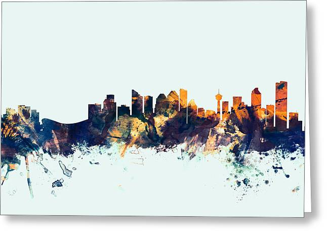 Calgary Canada Skyline Greeting Card by Michael Tompsett