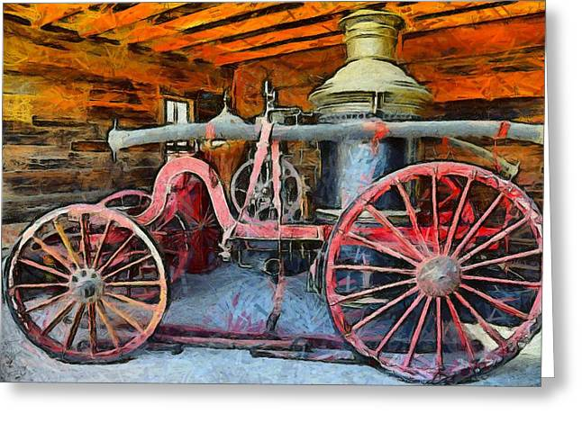 Hand Drawn Greeting Cards - Calico Ghost Town Fire Engine Greeting Card by Barbara Snyder