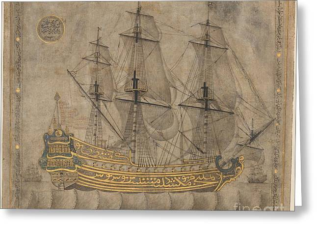 Moonlit Night Greeting Cards - Calligraphic Galleon Greeting Card by Celestial Images