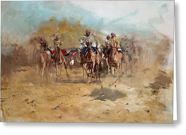 Camels And Desert 6 Greeting Card by Mahnoor Shah