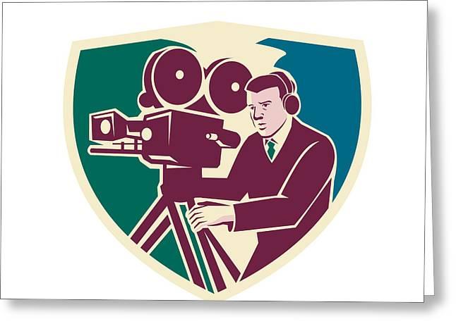 Moviemaker Greeting Cards - Cameraman Moviemaker Vintage Camera Shield Greeting Card by Aloysius Patrimonio