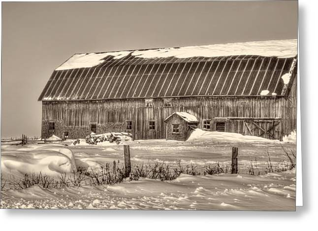 Wintry Greeting Cards - Canadian Winter Barn Greeting Card by Viateur Beaulieu